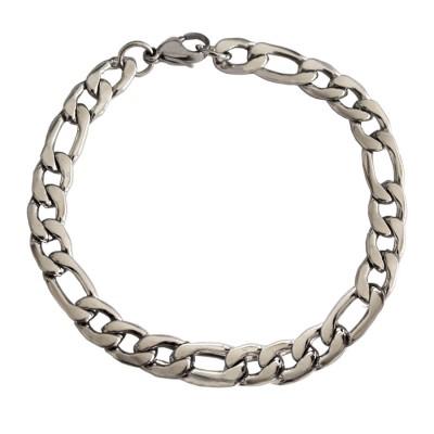 Imported Men's Jewellery Silver Stylish Figaro Chain Design Bracelet For Men