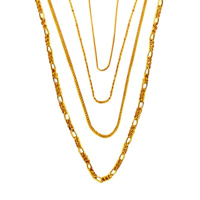 Menjewell Fashion Jewellery Antique Combo Of Four Gold Plated Chains For Men