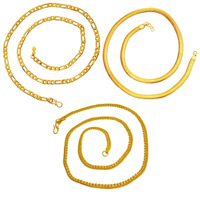 Menjewell Classic Collection Gold Formal Look Stylish Design Chain Combo For Men & Boys