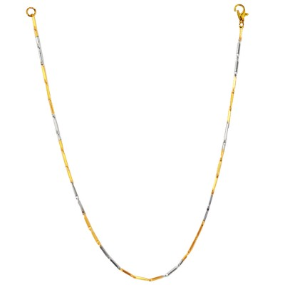 Menjewell Silver Gold Two Tone Italian Stainless Steel Chain Necklace For Men Boys