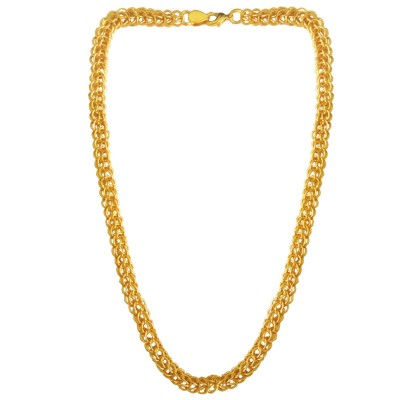 Menjewell Classic & Lustrous  Gold Interlocked Link Design Brass Chain For Men