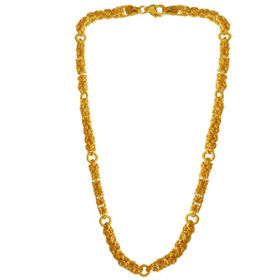 Menjewell Classic & Lustrous  Gold Byzantine Interlocked Link Design Brass Chain For Men