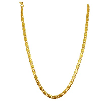 Gold Plated Brass Stylish Antique Flat Byzantine Design Brass Chain