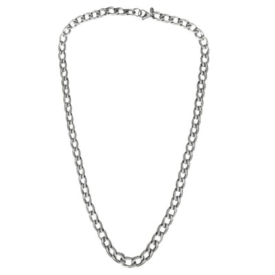 Classic Silver Curb Link Design Alloy Chain For Men