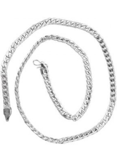 Silver Curb Flat Angular Fashion Geometric Pattern Chain