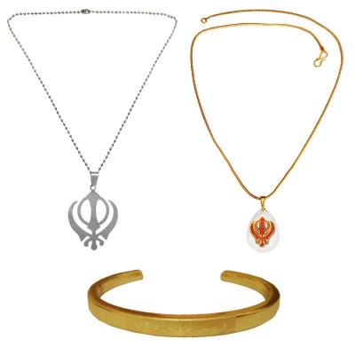 Menjewell Ethnic Jewellary Collection Multicolor Punjabi Sardar Ji Sikkh khanda Desing 2 Pendant With Kada & Free Ring