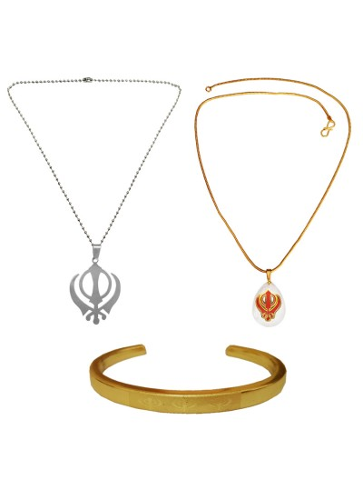 Menjewell Ethnic Jewellary Collection Multicolor Punjabi Sardar Ji Sikkh khanda Desing 2 Pendant With Kada & Free Ring