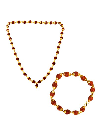 Menjewell Spritual Goldcap Rudraksha Mala & Bracelet Combo For Men & Boy 100% original