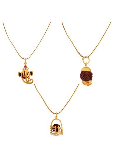 Menjewell 100% Original Rudrakasha Spritual Multicolor Gold Plated Vakratund Ganesha ,Shivaling & Gold Cap Rudraksha Pendant Combo For Men & Women
