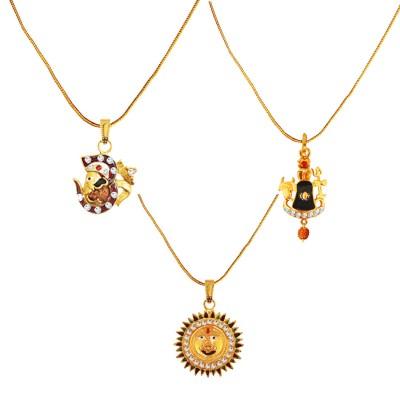 Menjewell 100% Original Rudrakasha Spritual Multicolor Gold Plated Om With Vakratund Ganesha ,Shivaling With Trishul & Lord Surya Pendant Combo For Men & Women
