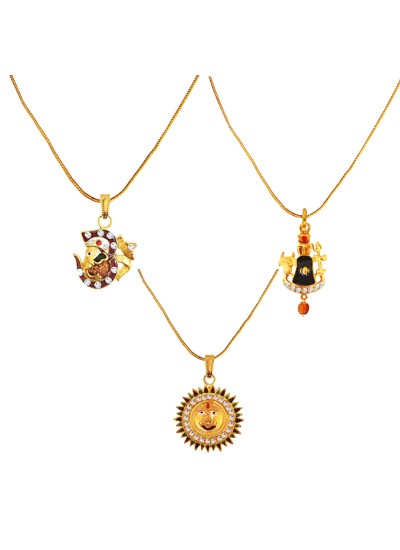 Menjewell 100% Original Rudrakasha Spritual Multicolor Gold Plated Om With Vakratund Ganesha ,Shivaling With Trishul & Lord Surya Pendant Combo For Men & Women
