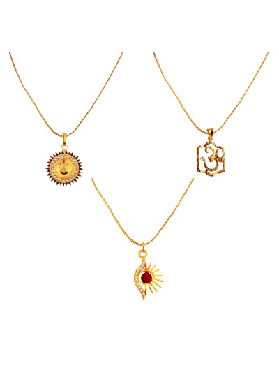 Menjewell Religious Jewellery Multicolor Gold Plated OM , Lord Surya & Half Design Lord Surya With Rudraksha Pendant Combo For Men & Women