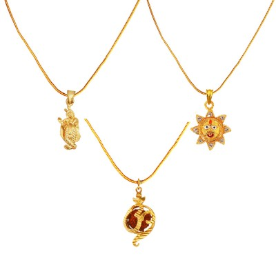 Menjewell Religious Jewellery Multicolor Gold Plated Shri Krishna ,Lord Surya & Rudraksha Studded OM Mini Pendant Combo For Men & Women