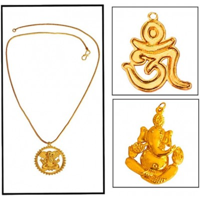 Gold  Lord Ganesha With Om Design Combo set with One Chain Pendant