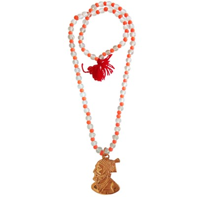 Menjewell Prayer Mala Beads Multicolor Yoga Energy Medication Coral Crystal With Chhatrapati Shivaji Maharaj Pendant Necklace Mala For Men