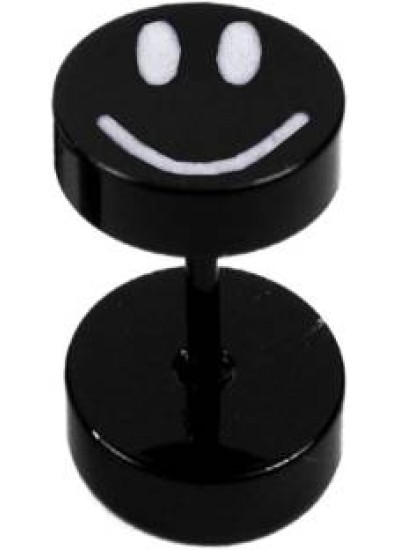 Black  Dumbbel Shape Smiley Fashion Stud Earring