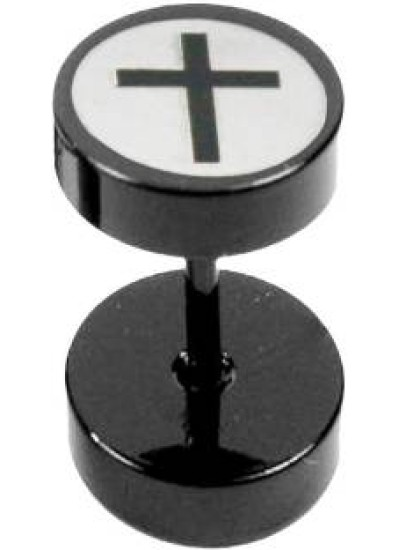 White::Black  Jesus Christ Cross Fashion Stud Earring