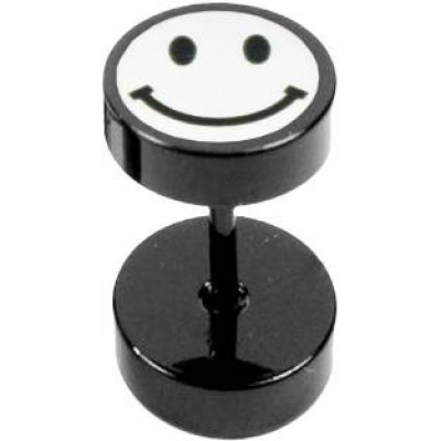 White::Black  Smiley Face Fashion Stud Earring