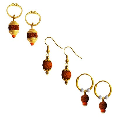 Mens Rudraksha Jewellery Fancy Unisex Style Multicolor Lord Shiva Rudraksha Bali Three Combo Earring Set