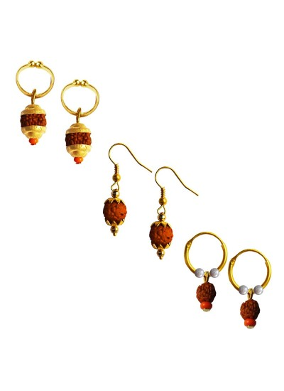 Mens Rudraksha Jewellery Fancy Unisex Style Multicolor Lord Shiva Rudraksha Bali Three Combo Earring Set