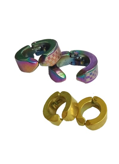Menjewell Multicolor Salman Khan Style Non-Pierced Clipp-On Hoop Loop Earring Combo For Men