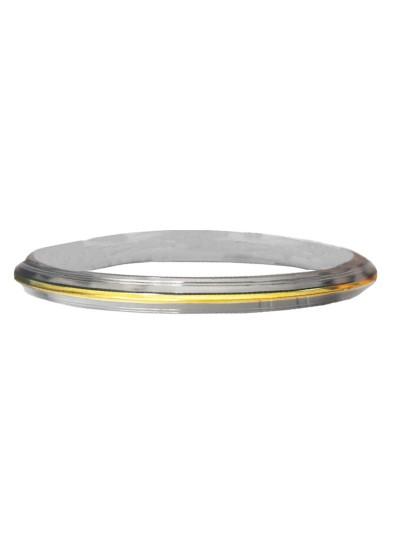 Gold::Silver Dual tone Punjabi Sardar ji Sikkh Fashion Stainless Steel Sikkh Kada