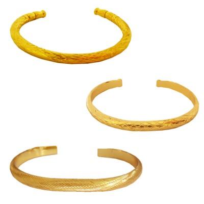 Menjewell Ethnic Jewellary Collection Gold Openable Punjabi Sardar ji Sikkh Fashion Brass Kada Combo with Free Ring