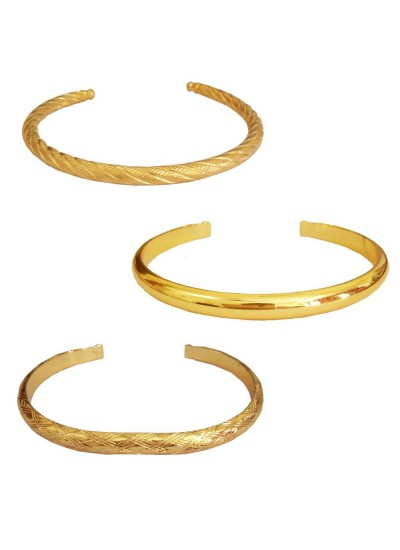 Menjewell Ethnic Jewellary Collection Gold Openable Punjabi Sardar ji Sikkh Fashion Brass Kada Combo with Free Ring