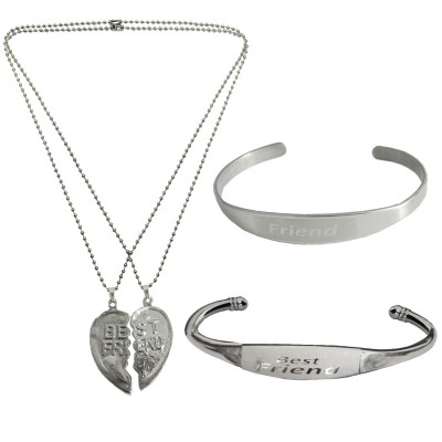 Menjewell Friends Collection Black::Silver Best Friend design Couple Pendant With Kada & Free Best Friend Dog tag Pendant
