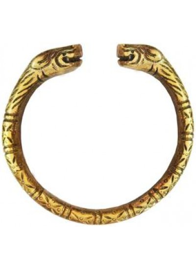 Gold Lion Face Opening End Fashion Brass Kada