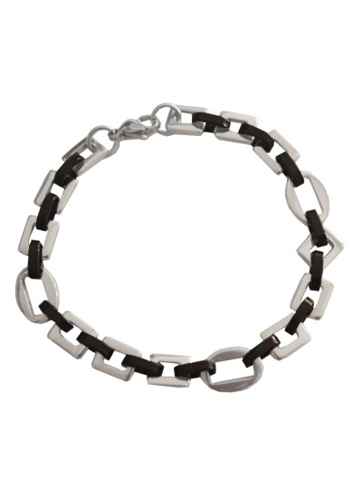 Imported Men's Jewellery Silver Black Stylish Byzantine Chain Design Stainless steel Bracelets Bracelet