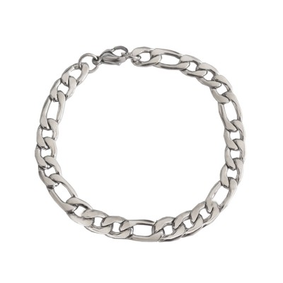 Imported Men's Jewellery Silver Stylish Figaro Chain Design Stainless Steel Bracelets