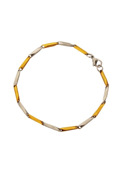 Menjewell Imported Men's Jewellery Gold 'Simple but Classic' Rectangular Fashion Chain Bracelets For Men