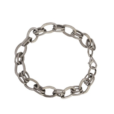Menjewell Imported Men's Jewellery Silver Stylish Sterling Flat Oval Cable Fashion Chain Bracelets For Men