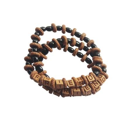 "Menjewell Friendship Day Special Fancy Multicolor Lettering ""FRIEND""In Alphabet Beads Design Friendship Bracelet"