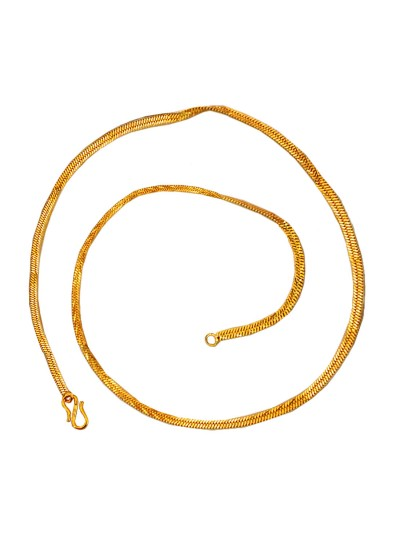 Menjewell Royal & Good Looking Gold Plated Herringbone Design Gold Plated Chain 22 Inch for Men / Boys
