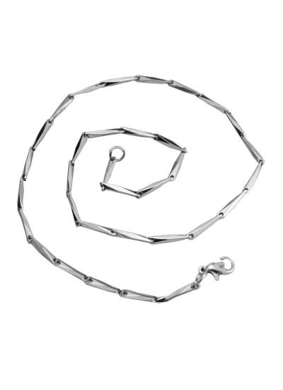 Menjewell Antique Silver Rectangular Design Stainless Steel 18 Inch Chain For Men/Boy