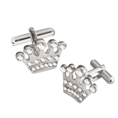 Menjewell Imported Men Silver Stone Studded King Design Cufflinks