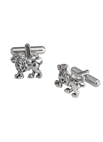 Menjewell Imported Men Silver Stylish Lion Design Cufflinks For Men