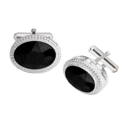 Menjewell Imported Men Silver Oval Shaped Antique Cufflinks Timeless Gift for Men