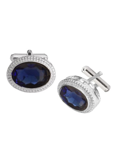 Menjewell Imported Men Silver Blue Oval Shaped Antique Cufflinks Timeless Gift for Men