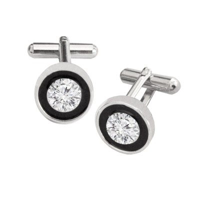 Menjewell Imported Men Silver Stone Studded Round Design Antique Cufflinks For Men