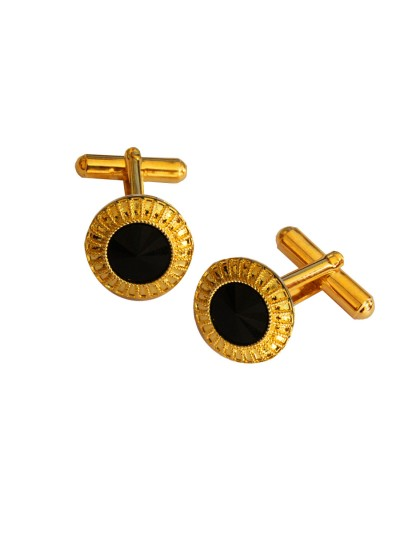 Menjewell Imported Men Gold Black Stone Studded Round Design Antique Cufflinks Formal Dress Shirt Cuff Links Collar Button