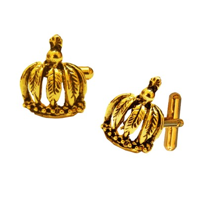 Menjewell Imported Men Golden Queen Crown Shaped Stylish Cufflinks Timeless Gift for Men