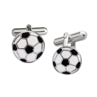 Menjewell Imported Men Silver Black Soccer Ball Design Cufflinks