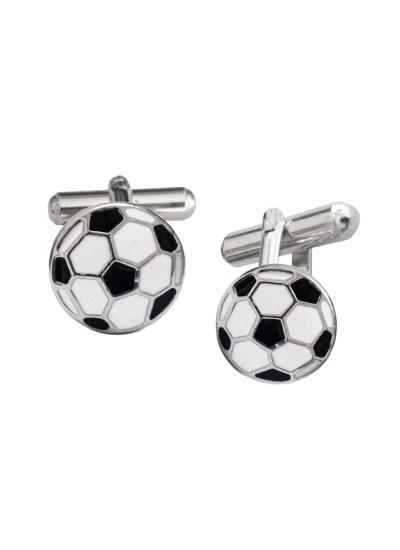 Menjewell Imported Men Silver Black Soccer Ball Design Cufflinks