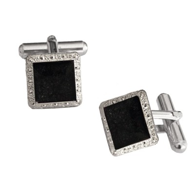 Menjewell Imported Men Black Silver Square Shaped Antique Sparkling Cufflinks Timeless Gift for Men
