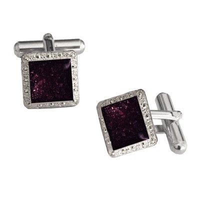 Menjewell Imported Men Black Violet Square Shaped Antique Sparkling Cufflinks Timeless Gift for Men