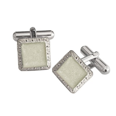 Menjewell Imported Men Silver Square Shaped Antique Sparkling Cufflinks Timeless Gift for Men
