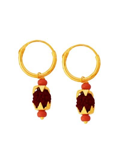 Menjewell Rudraksha Jewellery Collection Gold:Brown Fancy Unisex Style Lord Shiva Rudraksha Bali Earring